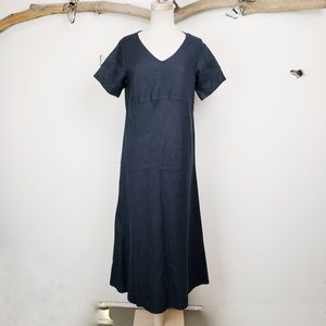 J jill black linen short sleeve maxi dress